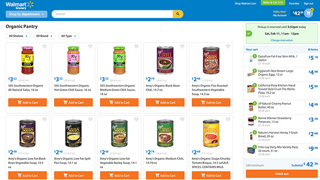 Walmart Grocery page