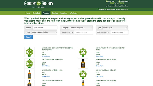 Goody Goody search page