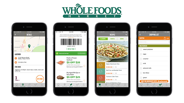 Whole Foods mobile app examples